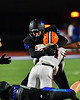 Liverpool Warriors Runningback Dakari Mack gets tackled by a Cicero-North Syracuse Northstars defender in Section III football game action at the Micheal Bragman Stadium in Cicero, New York on Friday, September 13, 2019. Liverpool won 10-0.