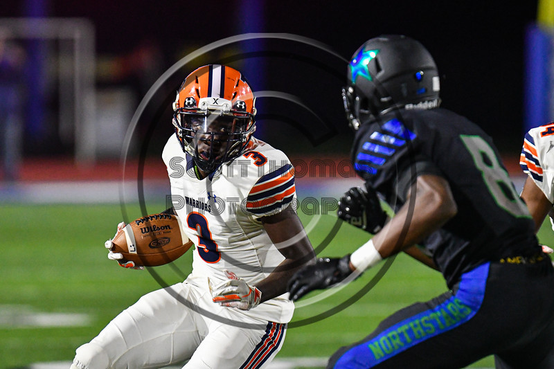 Liverpool Warriors Malachi Upshur (3) running with the ball against the Cicero-North Syracuse Northstars in Section III football game action at the Micheal Bragman Stadium in Cicero, New York on Friday, September 13, 2019. Liverpool won 10-0.