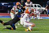 Liverpool Warriors Max Michalak (17) breaks up a Cicero-North Syracuse Northstars pass leading to an interception in Section III football game action at the Micheal Bragman Stadium in Cicero, New York on Friday, September 13, 2019. Liverpool won 10-0.