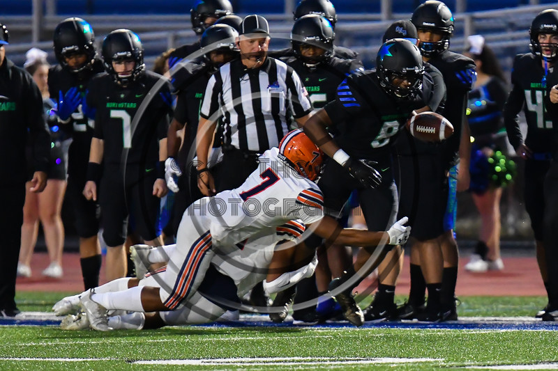 Liverpool Warriors Darreon Nixon (7) tackling a Cicero-North Syracuse Northstars receiver in Section III football game action at the Micheal Bragman Stadium in Cicero, New York on Friday, September 13, 2019. Liverpool won 10-0.
