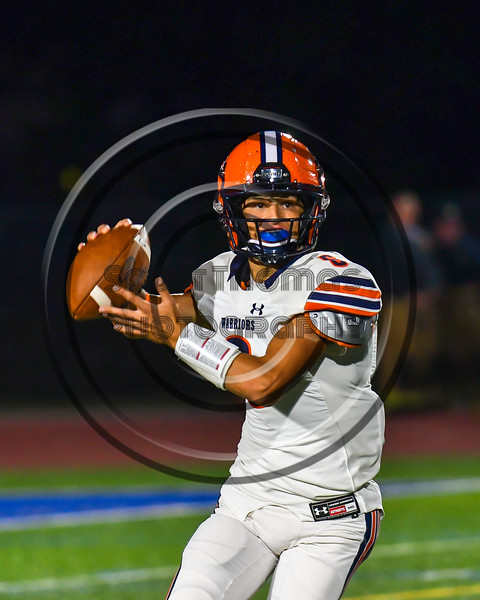 Liverpool Warriors Quarterback Brendan Mancuso (6) with the ball against the Cicero-North Syracuse Northstars in Section III football game action at the Micheal Bragman Stadium in Cicero, New York on Friday, September 13, 2019. Liverpool won 10-0.