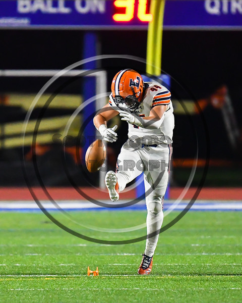 Liverpool Warriors Kicker Jacob Vacco (44) kicks off against the Cicero-North Syracuse Northstars in Section III football game action at the Micheal Bragman Stadium in Cicero, New York on Friday, September 13, 2019. Liverpool won 10-0.