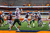 Fayetteville-Manlius Hornets Quarterback Zakary Conley (15) throws the ball to Jordan Leuze (2) against the Liverpool Warriors in the 2019 Kickoff Classic at the Carrier Dome in Syracuse, New York. Liverpool won 21-7.