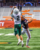 Fayetteville-Manlius Hornets Jordan Leuze (2) catches the ball over Liverpool Warriors defender Jacob Vacco (44) in the 2019 Kickoff Classic at the Carrier Dome in Syracuse, New York. Liverpool won 21-7.