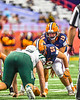 Liverpool Warriors Quarterback Aaron Sisto (19) underneath center John Worthen (5) against the Fayetteville-Manlius Hornets in the 2019 Kickoff Classic at the Carrier Dome in Syracuse, New York. Liverpool won 21-7.