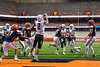 Fayetteville-Manlius Hornets Quarterback Zakary Conley (15) throws the ball to Jordan Leuze (2) for a touchdown against the Liverpool Warriors in the 2019 Kickoff Classic at the Carrier Dome in Syracuse, New York. Liverpool won 21-7.