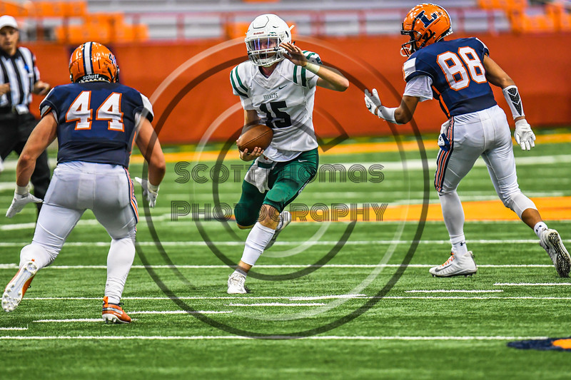Fayetteville-Manlius Hornets Quarterback Zakary Conley running with the ball against the Liverpool Warriors in the 2019 Kickoff Classic at the Carrier Dome in Syracuse, New York. Liverpool won 21-7.