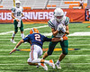 Fayetteville-Manlius Hornets Jordan Leuze (2) with the ball sidesteps Liverpool Warriors Brayden McClain (2) in the 2019 Kickoff Classic at the Carrier Dome in Syracuse, New York. Liverpool won 21-7.