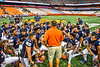 Liverpool Warriors Head Coach David Mancuso talks with this team after the 2019 Kickoff Classic at the Carrier Dome in Syracuse, New York. Liverpool won 21-7.