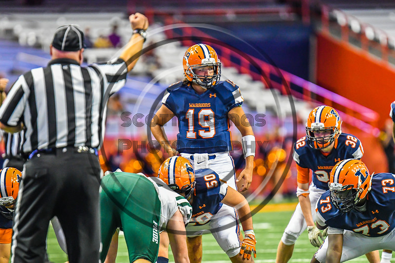 Liverpool Warriors Quarterback Aaron Sisto (19) in the game against the Fayetteville-Manlius Hornets in the 2019 Kickoff Classic at the Carrier Dome in Syracuse, New York. Liverpool won 21-7.