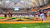 Liverpool Warriors take the field before playing the Fayetteville-Manlius Hornets in the 2019 Kickoff Classic at the Carrier Dome in Syracuse, New York.