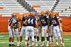 Liverpool Warriors huddle up before kicking off to the Fayetteville-Manlius Hornets in the 2019 Kickoff Classic at the Carrier Dome in Syracuse, New York.
