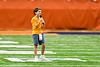 Brigg Liberman, 10, after singing the National Anthem before the 2019 Kickoff Classic at the Carrier Dome in Syracuse, New York.