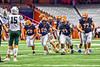 Liverpool Warriors offensive linemen of John Worthen (50), Dante Mento (58), Cris Ogindo (73) and Nate Graser (77) break the huddle against the Fayetteville-Manlius Hornets in the 2019 Kickoff Classic at the Carrier Dome in Syracuse, New York. Liverpool won 21-7.