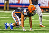 Liverpool Warriors Defensive End Baxter Holsey lined up against the Fayetteville-Manlius Hornets in the 2019 Kickoff Classic at the Carrier Dome in Syracuse, New York. Liverpool won 21-7.