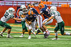 Liverpool Warriors Quarterback Brendan Mancuso (6) escapes the Fayetteville-Manlius Hornets pass rush in the 2019 Kickoff Classic at the Carrier Dome in Syracuse, New York. Liverpool won 21-7.