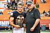 CNY/NFF offical presents the Most Valuable Player plaque to Liverpool Warriors Bryce Mills (30) in the 2019 Kickoff Classic at the Carrier Dome in Syracuse, New York. Liverpool won 21-7.