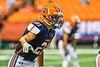 Liverpool Warriors Wide Receiver Kyle Caves (21) lining up against the Fayetteville-Manlius Hornets in the 2019 Kickoff Classic at the Carrier Dome in Syracuse, New York. Liverpool won 21-7.