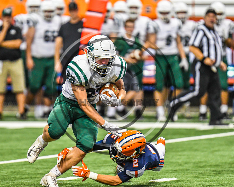 Fayetteville-Manlius Hornets Jack Nucerino (32) running with the ball against the Liverpool Warriors in the 2019 Kickoff Classic at the Carrier Dome in Syracuse, New York. Liverpool won 21-7.