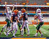 Fayetteville-Manlius Hornets Quarterback Zakary Conley (15) celebrates the touchdown by Jordan Leuze (2) against the Liverpool Warriors in the 2019 Kickoff Classic at the Carrier Dome in Syracuse, New York. Liverpool won 21-7.