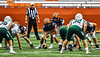 Liverpool Warriors Quarterback Brendan Mancuso (6) under center Nick Hall (75) against the Fayetteville-Manlius Hornets in the 2019 Kickoff Classic at the Carrier Dome in Syracuse, New York. Liverpool won 21-7.
