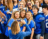 Westhill Warriors students posing for a photo before a Section III football game in Syracuse, New York on Friday, September 27, 2019.