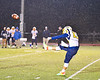 Central Valley Academy Thunder player punts the ball against the Marcellus Mustangs in Section III, Class B football game action in Marcellus, New York on Friday, October 25, 2019. Marcellus won 17-14.