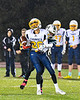 Marcellus Mustangs Kevin Donath (28) breaks up a pass to the Central Valley Academy Thunder receiver in Section III, Class B football game action in Marcellus, New York on Friday, October 25, 2019. Marcellus won 17-14.