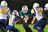 Marcellus Mustangs Sean Tierney (2) cradling the ball against the Central Valley Academy Thunder in Section III, Class B football game action in Marcellus, New York on Friday, October 25, 2019. Marcellus won 17-14.
