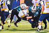 Marcellus Mustangs Jonas Kaczor (44) and William Goldsworthy (78) tackles the Central Valley Academy Thunder runner in Section III, Class B football game action in Marcellus, New York on Friday, October 25, 2019. Marcellus won 17-14.