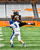 Cicero-North Syracuse Northstars Ibrahim Farouk (3) tackles Utica-Proctor Raiders Patrick Minor (24) in Section III Class AA Championship Football game action at the Carrier Dome in Syracuse, New York on Saturday, November 9, 2019. Cicero-North Syracuse Northstars won 28-25.