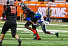 Cicero-North Syracuse Northstars Jerrod Hills (13) tackles Utica-Proctor Raiders Tasean Cooper (3) in Section III Class AA Championship Football game action at the Carrier Dome in Syracuse, New York on Saturday, November 9, 2019. Cicero-North Syracuse Northstars won 28-25.
