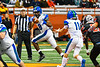 Cicero-North Syracuse Northstars Quarterback JJ Razmovski (11) tosses the ball to Mike Washington (8) against the Utica-Proctor Raiders in Section III Class AA Championship Football game action at the Carrier Dome in Syracuse, New York on Saturday, November 9, 2019. Cicero-North Syracuse Northstars won 28-25.