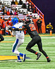Cicero-North Syracuse Northstars Adron Pafford (14) catches a pass against Utica-Proctor Raiders Mike Jones (26) in Section III Class AA Championship Football game action at the Carrier Dome in Syracuse, New York on Saturday, November 9, 2019. Cicero-North Syracuse Northstars won 28-25.