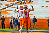 Solvay Bearcats Blaine Franklin (7) celebrates the touchdown by Elijah Wright (9) against the Oneida Indians in Section III Class B Championship Football game action at the Carrier Dome in Syracuse, New York on Saturday, November 9, 2019. Solvay won 14-7.