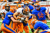 Solvay Bearcats Elijah Wright (9) being tackled by the Oneida Indians in Section III Class B Championship Football game action at the Carrier Dome in Syracuse, New York on Saturday, November 9, 2019. Solvay won 14-7.