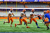 Solvay Bearcats Elijah Wright (9) running behind the blocking of Xzavier Morris (58) and Tyriq Block (32) to score a touchdown against the Oneida Indians in Section III Class B Championship Football game action at the Carrier Dome in Syracuse, New York on Saturday, November 9, 2019. Solvay won 14-7.