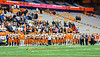 Solvay Bearcats players stand for the National Anthem before the Section III Class B Championship Football game at the Carrier Dome in Syracuse, New York on Saturday, November 9, 2019.
