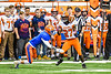 Solvay Bearcats Justin Scott (27) misses the pass as Oneida Indians Will Merrell (5) closes in in Section III Class B Championship Football game action at the Carrier Dome in Syracuse, New York on Saturday, November 9, 2019. Solvay won 14-7.