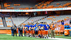 Oneida Indians players stand for the National Anthem before the Section III Class B Championship Football game at the Carrier Dome in Syracuse, New York on Saturday, November 9, 2019.