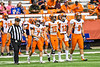 Solvay Bearcats Blaine Franklin (7), Jaimen Bliss (15), Brock Bagozzi (12) and Elijah Wright (9) walk out for the coin flip before playing the Oneida Indians in the Section III Class B Championship Football game at the Carrier Dome in Syracuse, New York on Saturday, November 9, 2019.