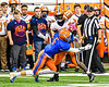Solvay Bearcats Justin Scott (27) misses the pass as Oneida Indians Will Merrell (5) hits in Section III Class B Championship Football game action at the Carrier Dome in Syracuse, New York on Saturday, November 9, 2019. Solvay won 14-7.