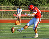 Baldwinsville Bees Griffin Killian (84) kicsk off to start a Section III Football game against the West Genesee Wildcats at the Pelcher-Arcaro Stadium in Baldwinsville, New York on Friday, September 3, 2021.  Baldwinsville won 14-13.