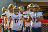 West Genesee Wildcats Benjamin Chamberlain (17) and Christian Becker (73) lead the Wildcats onto the field to play the Baldwinsville Bees in a Section III Football game at the Pelcher-Arcaro Stadium in Baldwinsville, New York on Friday, September 3, 2021.