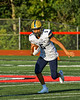 West Genesee Wildcats Francisco Cross (5) running with the ball against the Baldwinsville Bees in Section III Football action at the Pelcher-Arcaro Stadium in Baldwinsville, New York on Friday, September 3, 2021.  Baldwinsville won 14-13.