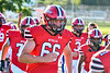 Baldwinsville Bees Braden Schaffner (66) runs on to field to play the West Genesee Wildcats in a Section III Football game at the Pelcher-Arcaro Stadium in Baldwinsville, New York on Friday, September 3, 2021.