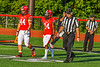 Baldwinsville Bees Captains Daniel Ewald (44) and Samuel Mellinger (24) before playing against the West Genesee Wildcats in a Section III Football game at the Pelcher-Arcaro Stadium in Baldwinsville, New York on Friday, September 3, 2021.