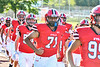 Baldwinsville Bees Rushi Patel (71) runs on to field to play the West Genesee Wildcats in a Section III Football game at the Pelcher-Arcaro Stadium in Baldwinsville, New York on Friday, September 3, 2021.