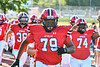 Baldwinsville Bees Daimel Fowler (79) runs on to field to play the West Genesee Wildcats in a Section III Football game at the Pelcher-Arcaro Stadium in Baldwinsville, New York on Friday, September 3, 2021.