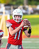 Fulton Red Raiders Quarterback William Patterson (11) takes the snap against the East Syracuse-Minoa Spartans in Section III Football action in Fulton, New York on Friday, September 17, 2021. East Syracuse-Minoa won 53-20.